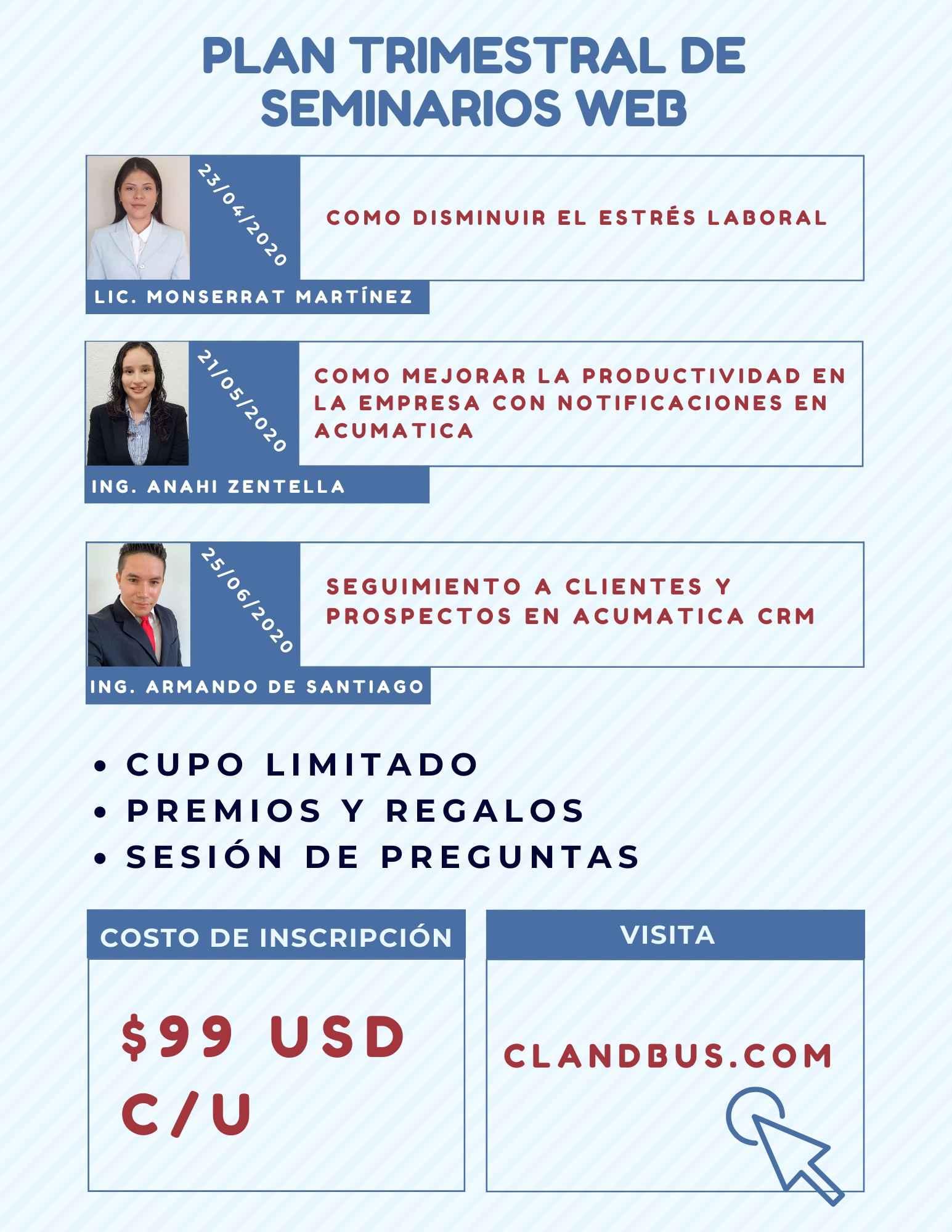 Seminarios Bajo Demanda - PLAN TRIMESTRAL DE SEMINARIO WEB