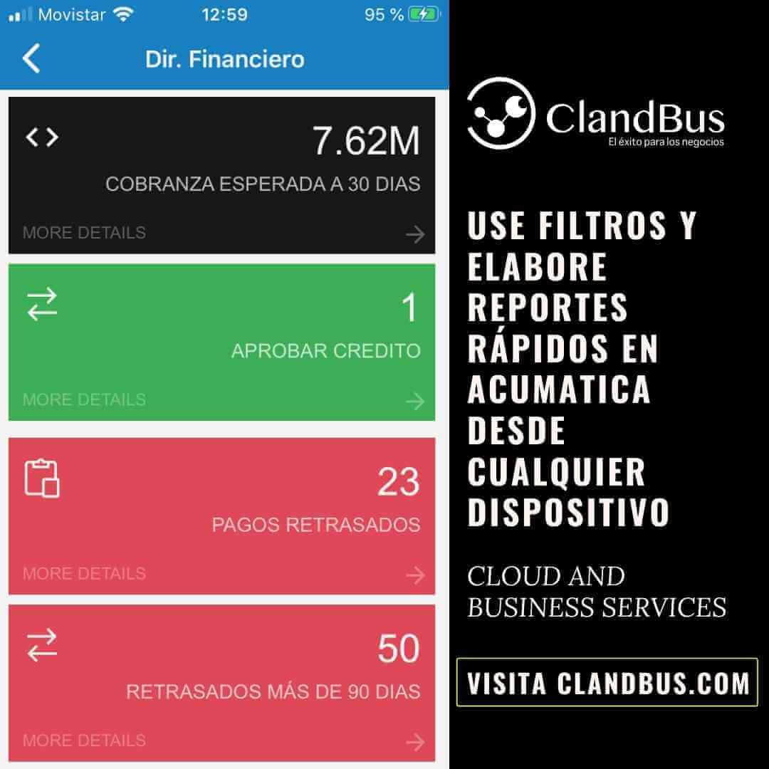 Usa filtros y elabore reportes rápidos en Acumatica desde cualquier dispositivo- ClandBus y Acumatica